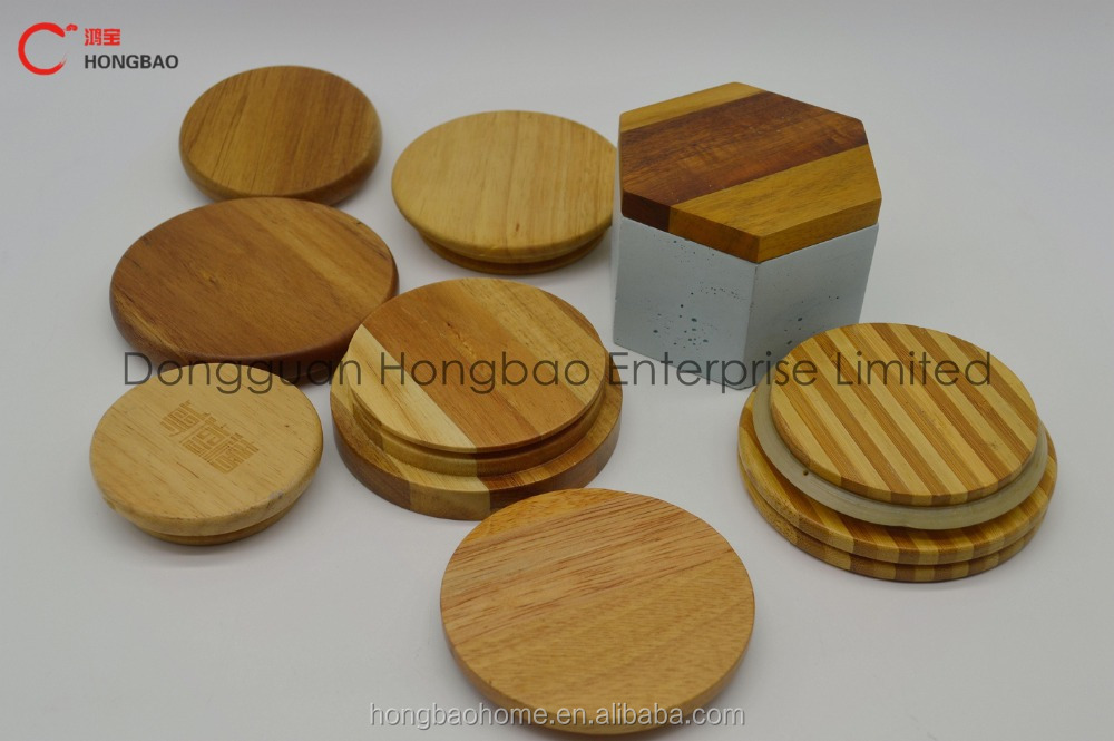 Custom Wooden Lid/Wooden Lid For Glass Candle Jar & Glass Container with Silicone Ring