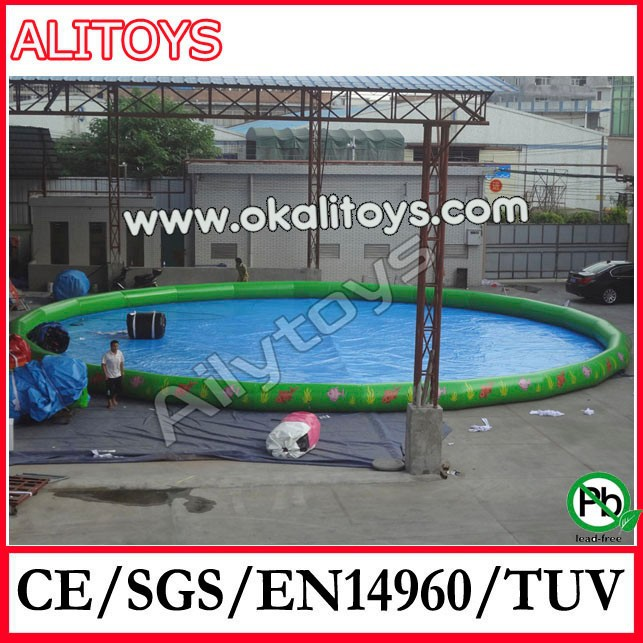 On stock!! Location shooting!! Alitoys customized giant outdoor inflatable water pool, inflatable water toys for fun