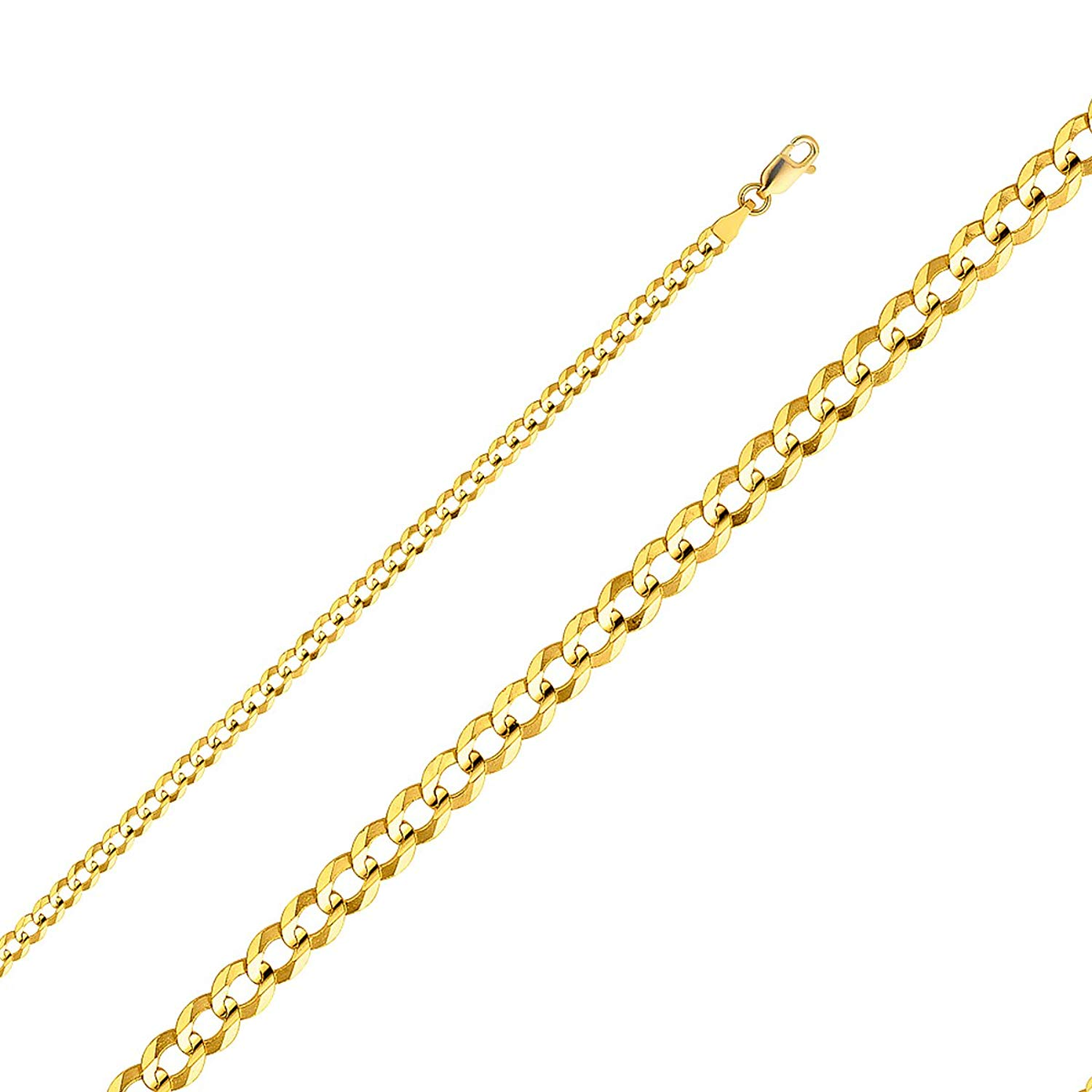 TGDJ 14k Yellow Gold 3.6mm Cuban Chain Curb Open Concave Link Wide Light 7.5/18/20/22/24''