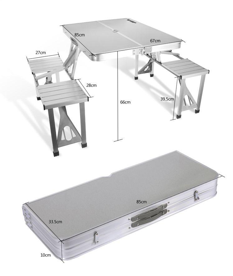 Portable Picnic Table Set & Outdoor Aluminum Alloy Table Folding ...