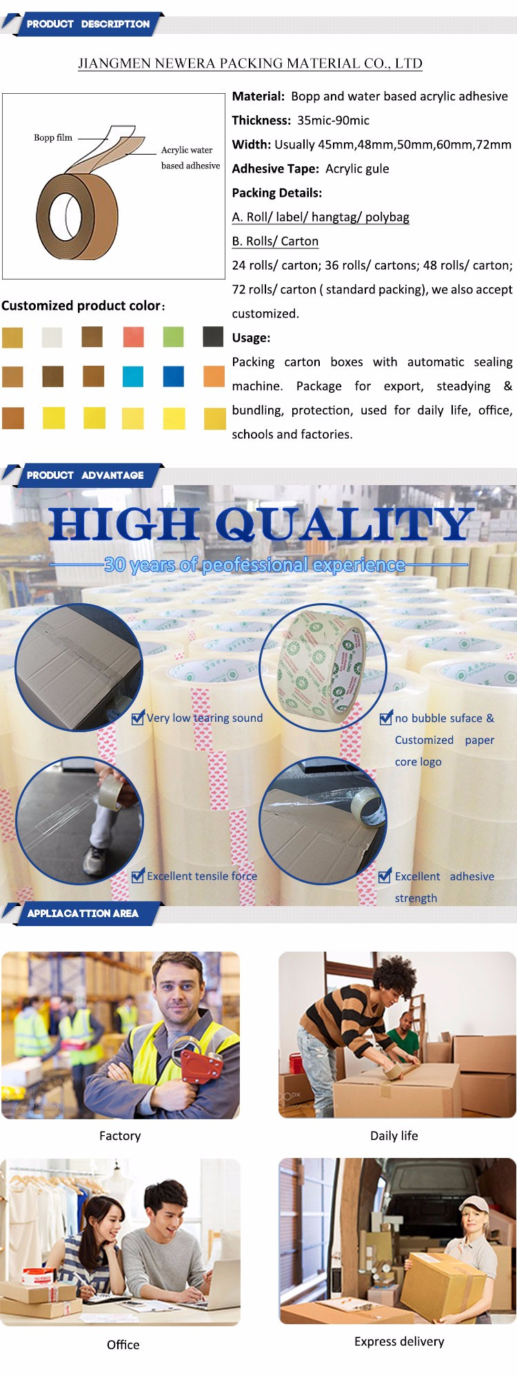 Chinese Factory sale adhesive custom logo printed packing tape