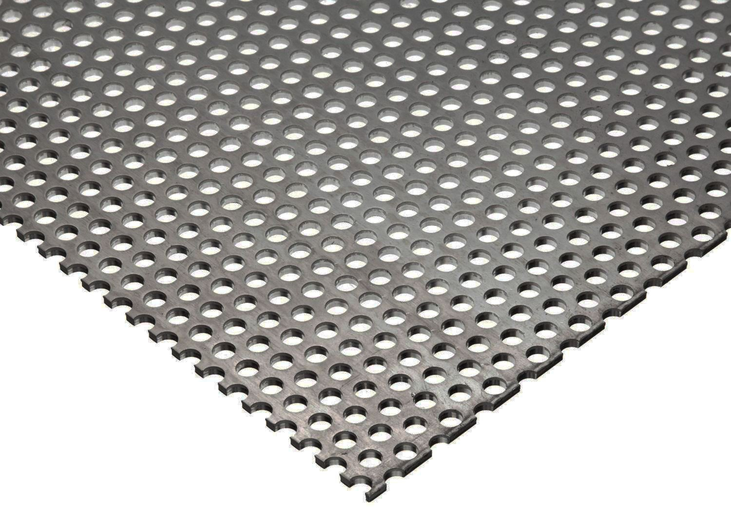 "Online Metal Supply 304 Stainless Steel Perforated Sheet .035"" (20 ga.) x 8"" x 12"" - 1/8"" Holes"
