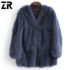 factory high quality fashionable luxury leather fur garment women winter fluffy real fox fur grass mink fur coat