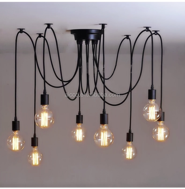 Christmas Ornaments Interior Decoration Multi Lights Black Metal Led Pendant Lighting Edison Bulb Filament Chandelier Iron