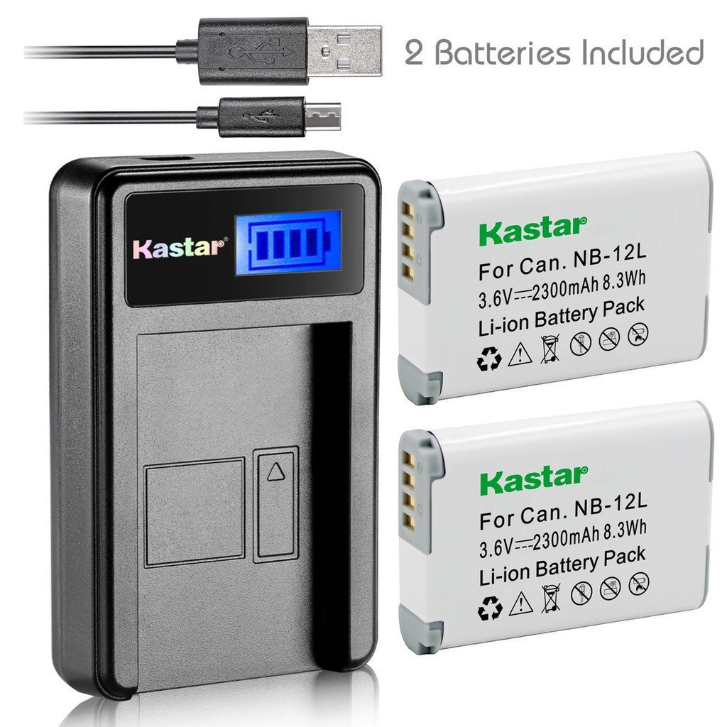 Kastar Battery (X2) & LCD Slim USB Charger for Canon NB-12L, NB12L, CB-2LG and Canon PowerShot G1 X Mark II, Canon PowerShot N100, Canon VIXIA mini X, LEGRIA mini X Digital Camera