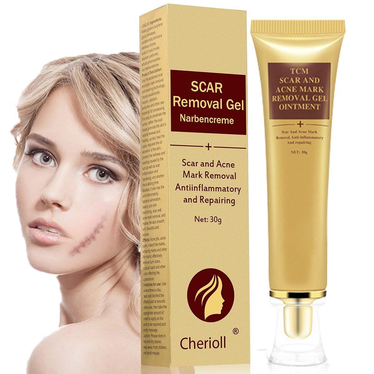 Scar Cream, Acne Scar Removal Cream, Face Skin Repair Cream, Acne Spots Treatment, Scar Gel for Stretch Marks Relief and Burns Repair (30ml)