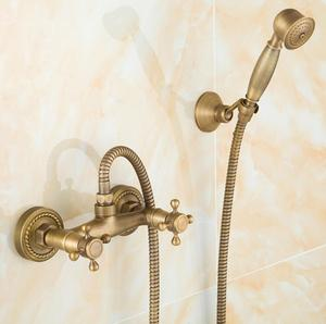 Bathroom antique bathtub faucet with hand shower, wall mounted bath shower faucet mixer filler tap