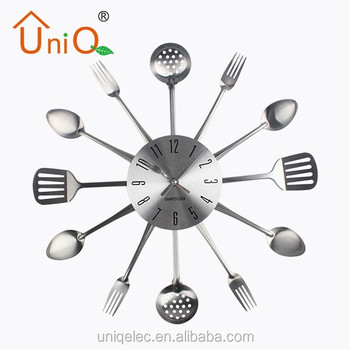18 Stainless Steel Kitchen Wall Clock Spoon Fork