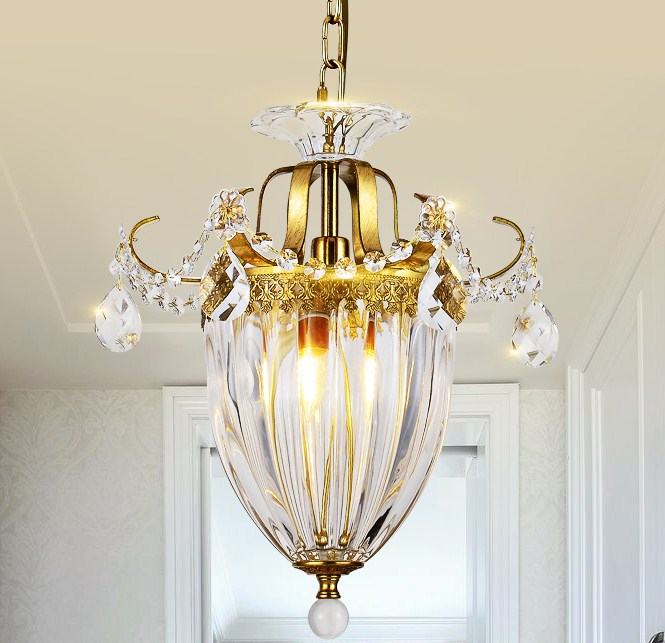 American copper crystal chandelier aisle porch Restaurant Bar cloakroom balcony windows creative lamp