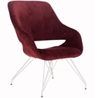 Velvet Red Cushion Club Living Room Home Leisure Button Lounge Chair