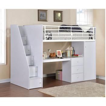 1467c1b7a7fb PXEL-56 China Factory Supply Children White High Sleeper Cabin Bed Desk  Wardrobe Storage Steps