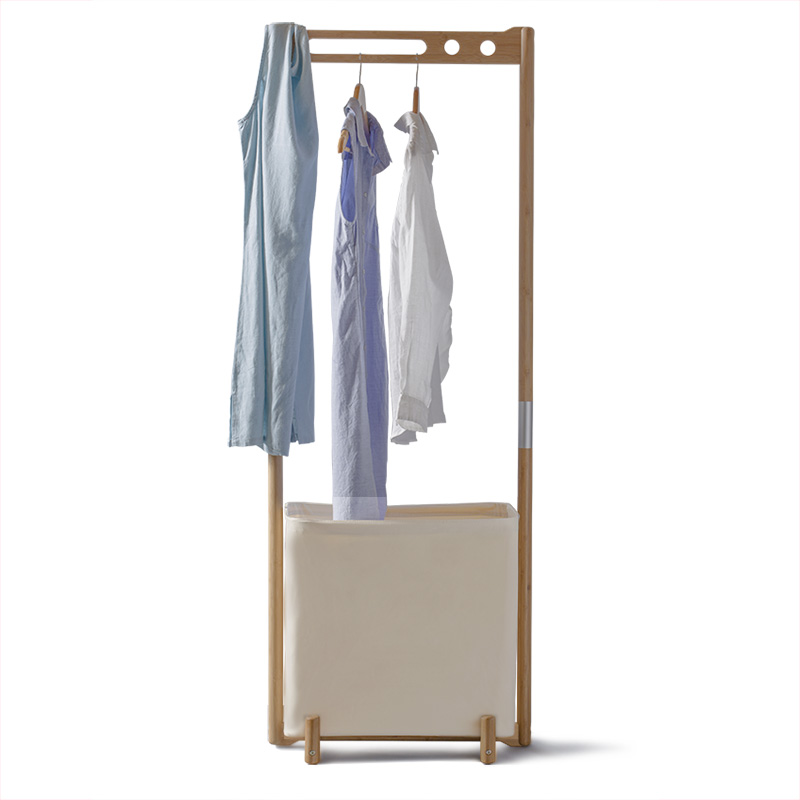 Simple style bamboo clothes drying rack with laundry storage