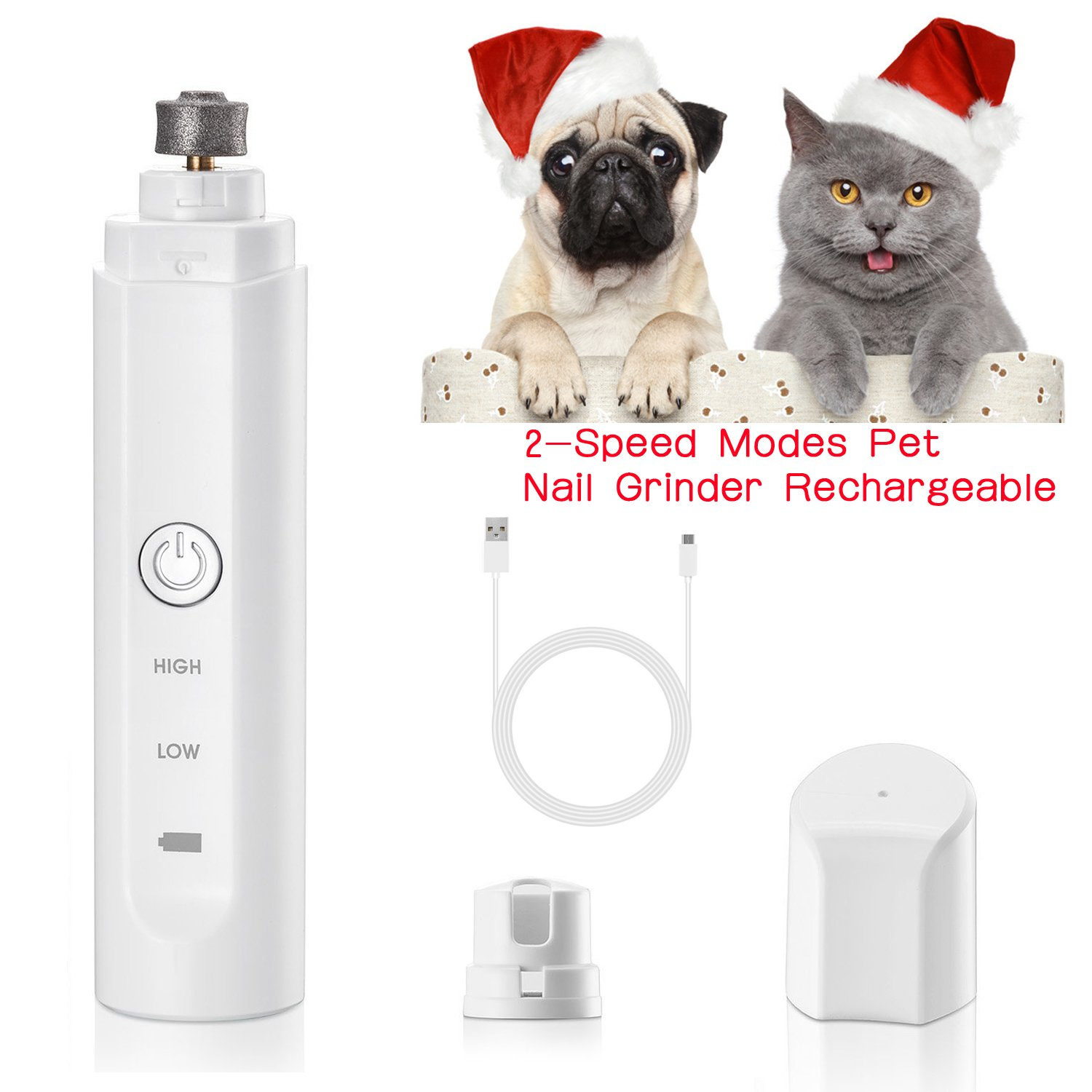 Upgraded 2 Speed Modes Pet Nail Grinder for Painless Paws Trimming Electric Rechargeable USB Charging Dog Nail Grinder Grooming Tools for Small Medium Large Dogs Cats and Other Animal Paws