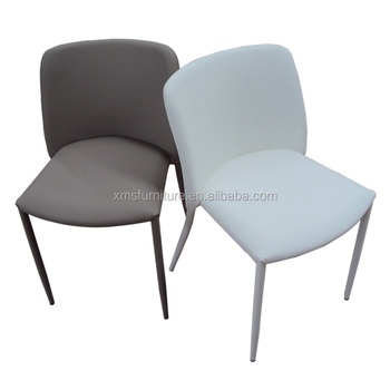 Home Furniture White Faux Leather Stacking Metal Legs Dining Chair