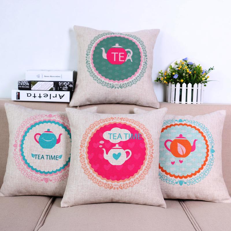 45cm The Fresh Tea Time Fashion Cotton Linen Fabric Throw Pillow Hot Sale 18 Inch New Home Decor Sofa Car Cushion Office Nap FR