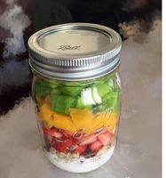 Glass mason jar glass bottle storage canister with straw lid