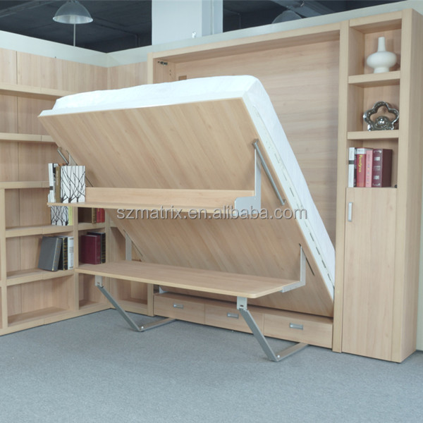 Murphy bed opklapbed murphy muur bed met boekenkast en for Bed in de muur