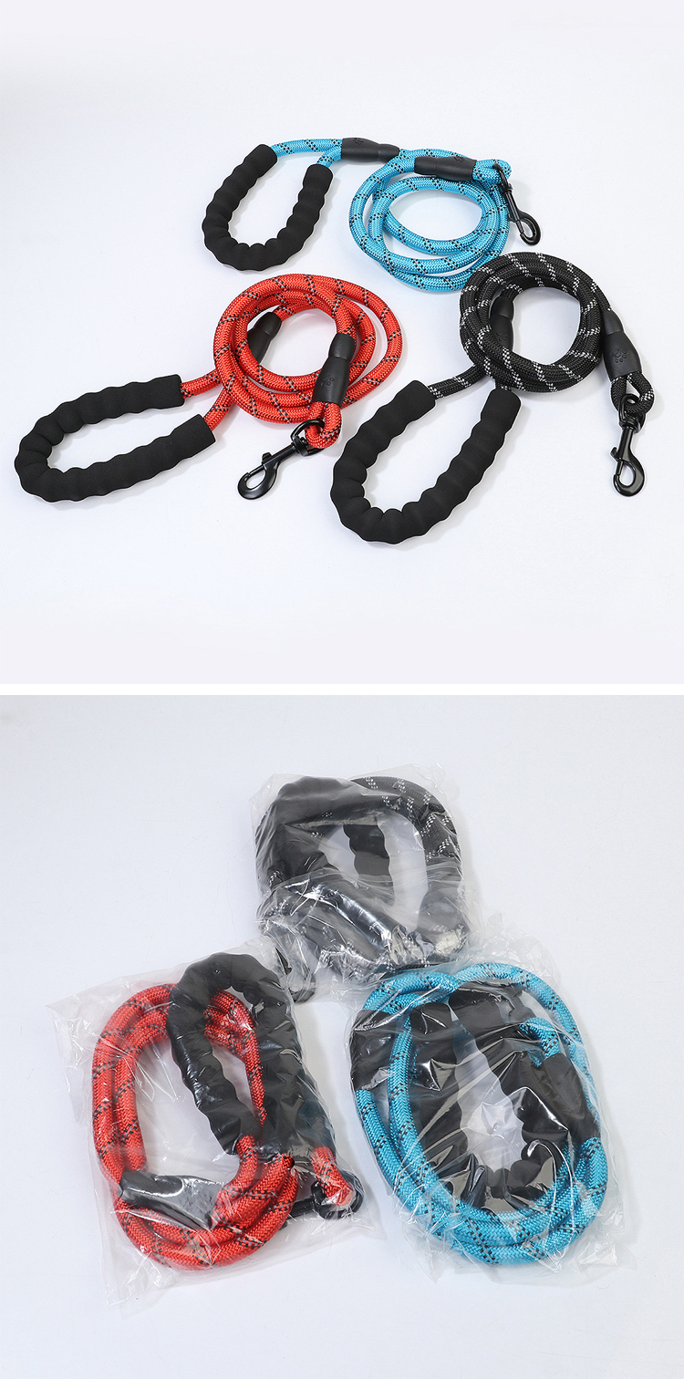 High Quality Hot Pet Round Pet Leash Reflective Night Light Elastic Dog Leash Nylon Leash Pet Supplies Factory Wholesale