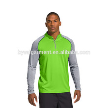 Sports apparel 1/4 zipper 100%polyester long sleeve dry fit shirts half zip shirts quick dry gym wear