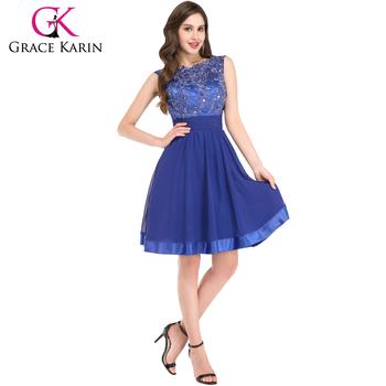 Grace Karin Ladies Sleeveless Backless Knee Length Chiffon Blue ...