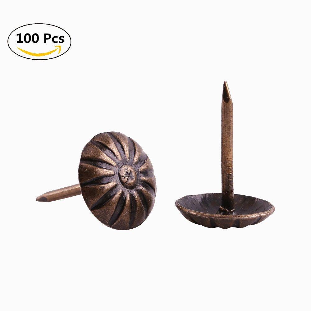 1.6x1.1cm Bronze Iron Antique Daisy Upholstery Nails Tacks Studs Set of 100