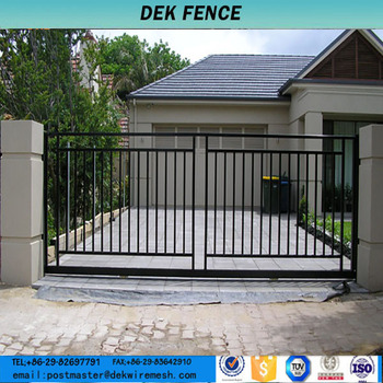 Sliding iron main gate perimeter railing fences iron gate for International decor gates