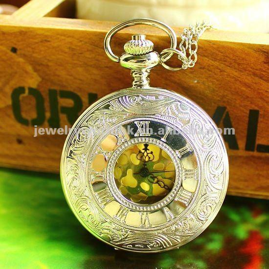 Quartz movement antique Roman numeral case pocket watch