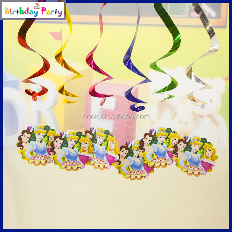 6pcs/bag 2016 Fashion New Princess Hanging Swirls Decoration for Kid Party