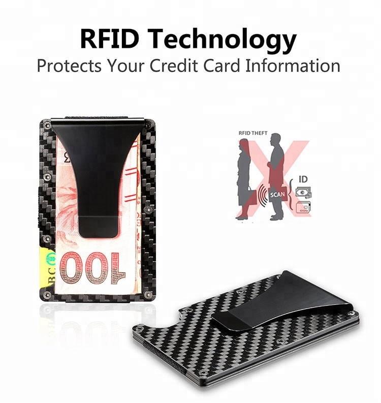 Ultra Thin Metal Wallet/RFID Blocking Credit Card Holder/Slim Carbon fiber Card Case for Travel and Work