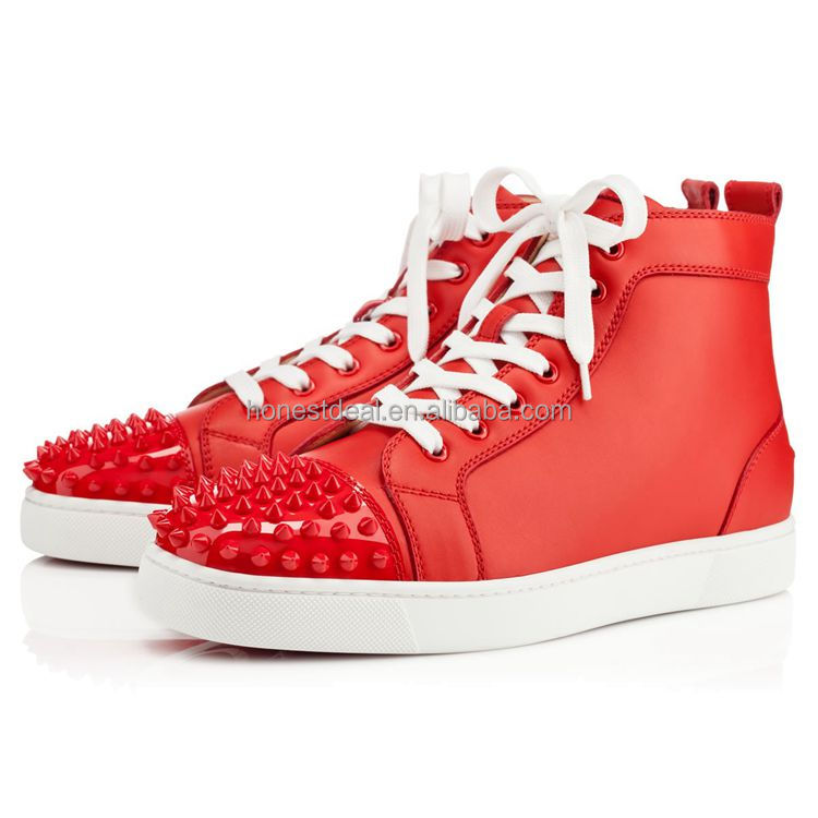 shoes high sneakers red toe men New in heel rivet style cap with xpwqBwOtHn