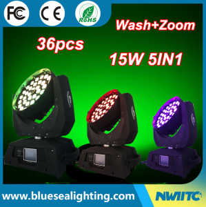 Dj stage light 36 x 15w RGBWA 5in1 zoom wash led moving head