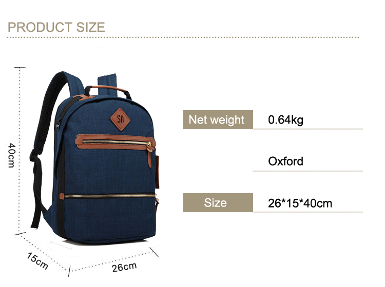 Wholesale quality custom fashion casual oem teenager student school backpack with leather trim