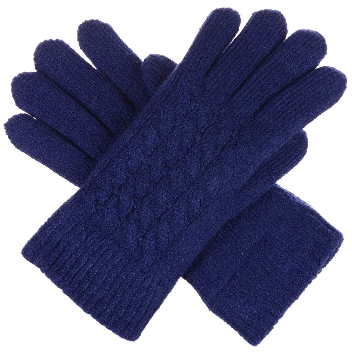 BYOS Women's Winter Classic Cable Warm Plush Fleece Lined Knit Gloves, Many Styles