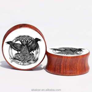 Double RavenThor's Hammer in Rune Red Sandal Wood Ear Gauge Plugs And Flesh Tunnels Piercing Expander Stretcher 8MM-25MM