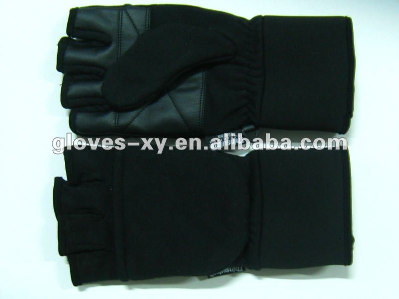 Half finger sport fleece thinsulate gloves