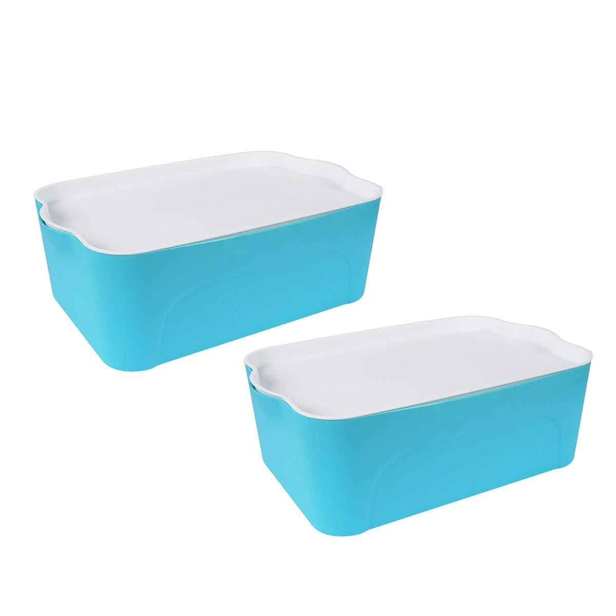 Saim Colorful Household Plastic Storage Container, Pack of 2, Medium, Blue