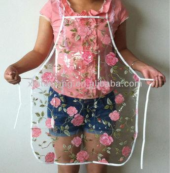 wholesale kitchen accessories rose design pvc transparent apron