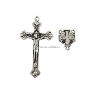 Set of Alloy Jerusalem Crucifix Cross and Centerpiece for Olive Wood Rosary