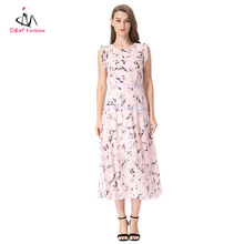 2017 Latest Design Plain Pink Floral Print Vest Dress Summer New Casual Style Lace Flower Pattern Office Long Silk Chiffon Dress