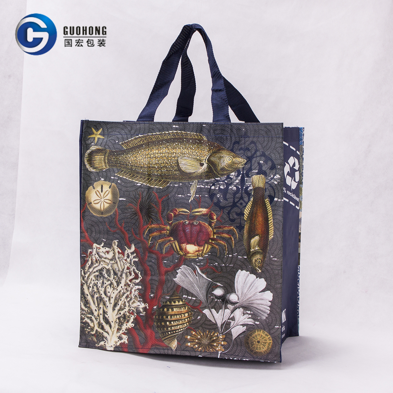 Foldable Waterproof Laminated Pp Woven Fabric Shopping Tote Bag Low Price