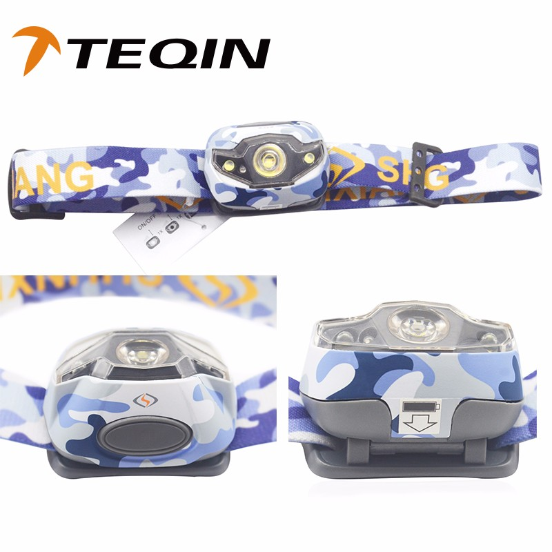 2016 TEQIN SF-001 best sell plastic body led source bulb light 3 modes head lamp flashlight powerful zoom led
