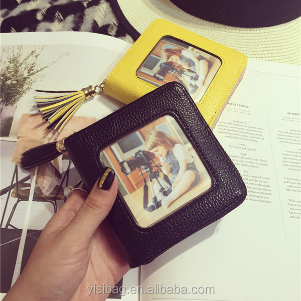 pu tassel purse with photo pocket