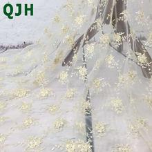 QJH французская кружевная ткань, маленькая Роза, Золотая шелковая вышивка, сетка, кружевные ткани для модного изысканного платья yx498(Китай)