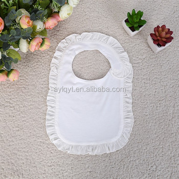 WZ-MS-1009 wholesale plain white terry cloth baby bibs with ruffles