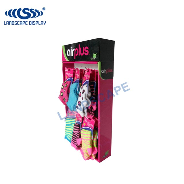 Custom red lucky socks stand paper display/carton display rack/hooks display