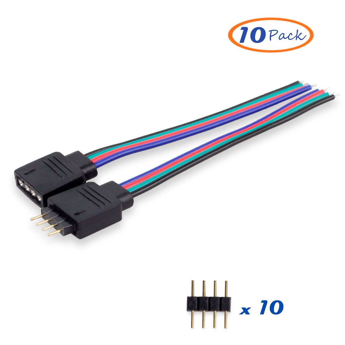 Cheap Rgb Connector Led Find Deals On Line At Pcs 4 Pin Male Female With Wire For 3528 5050 Strip Get Quotations Besmelody 10 Pack Smd Light Strips Cable