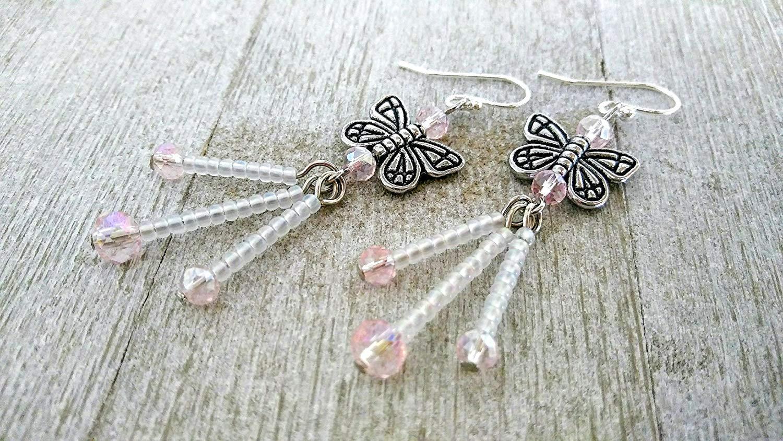 7b896fd1d Get Quotations · Butterfly Earrings, Butterfly Dangle Earrings, Sweet  Delicate Butterfly Drop Earrings, Chandelier Earrings,