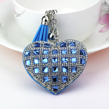 2018 Hot sale glass drilling key chain hot diamond heart keychain for couple bag