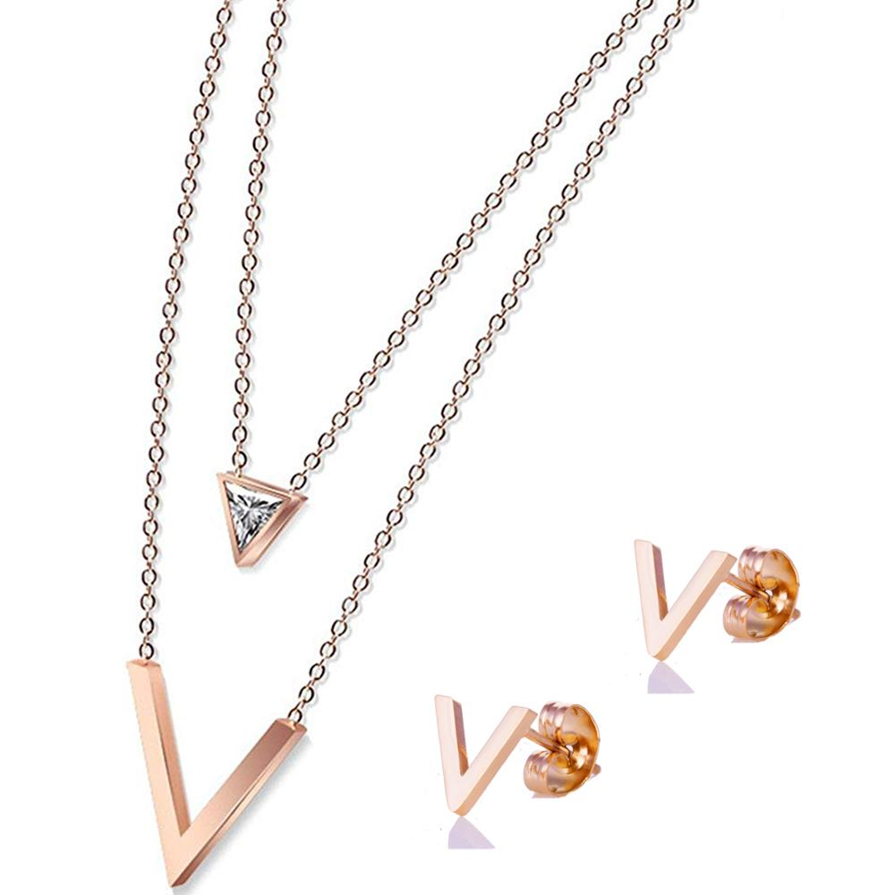 Alibaba.com / 2019 18k Rose Gold Plated Stainless Steel Jewellery Ring Love Girls Gift Necklace Jewelry for Women