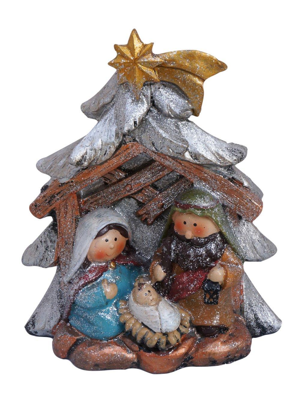 Glittered Metallic Holy Family Christmas Nativity Desktop Scenes (Tree)